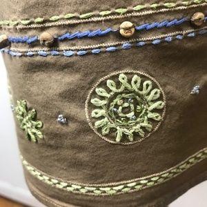 Talbots Tops - Talbots XL tunic Shirt, Beige w/ flower stitching